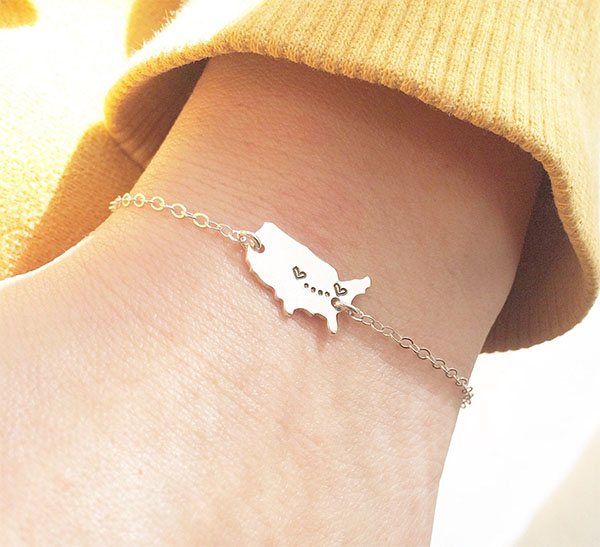 usa map with hearts bracelet