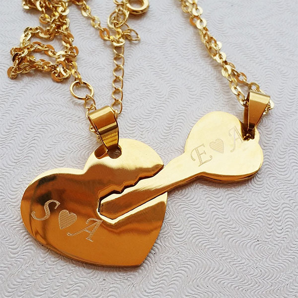 His & Hers Heart & Key Necklaces