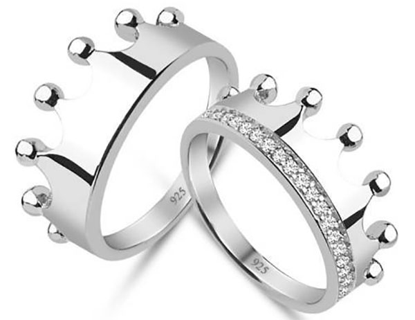 silver king queen rings