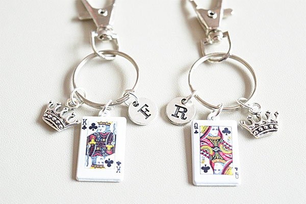 king queen charm keyrings