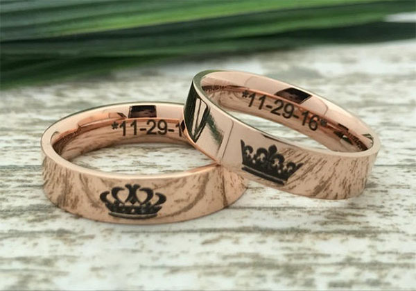 rose gold king queen rings