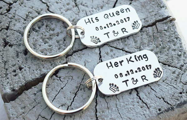 hand stamped couples keychains