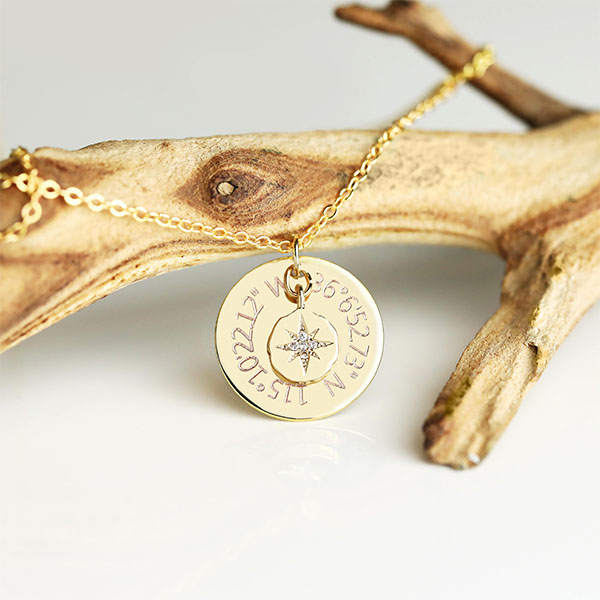 North Star Coordinates Necklace