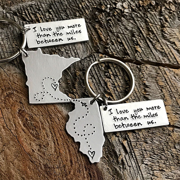 long distance state keychain