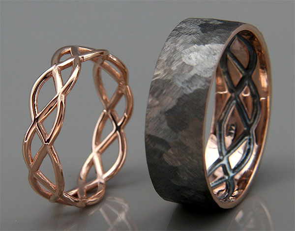 rose gold his hers rings