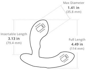 edge prostate massager dimensions diagram