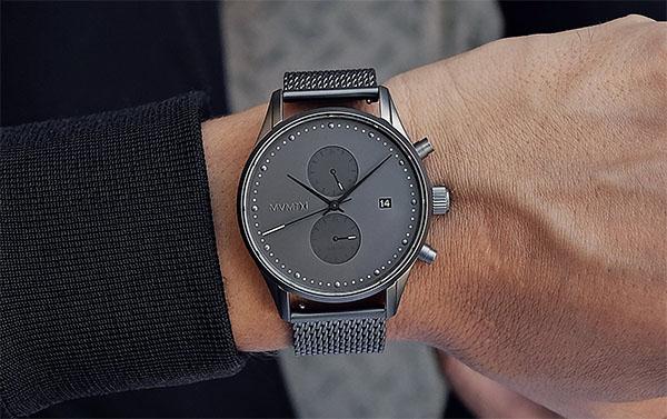 mvmt voyager monochrome grey dual time watch