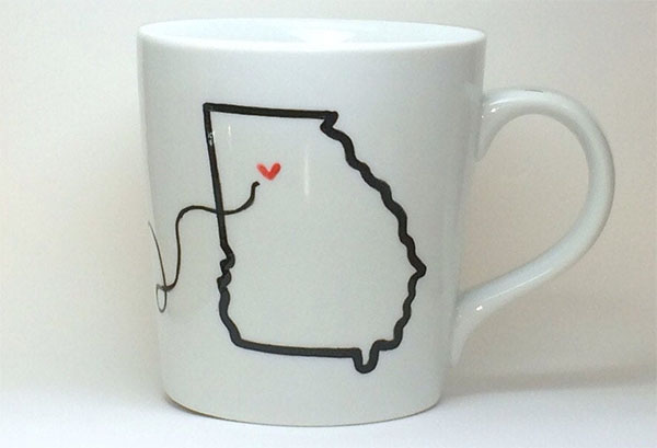 hand painted state to state mugs