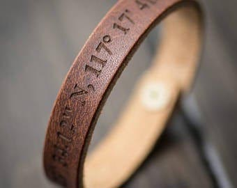 leather coordinates distance bracelet