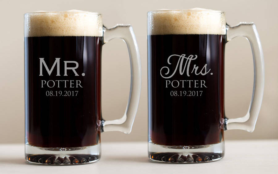 engraved couples beer mugs
