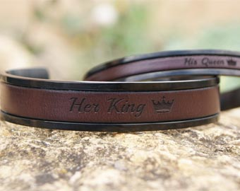king and queen leather cuff bracelets