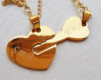 his and hers heart and key necklaces