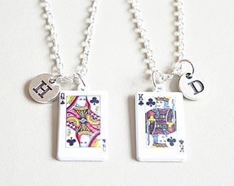 king and queen charm necklaces