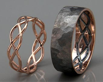 his and hers 14k rose gold celtic rings