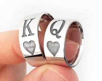 sterling silver king and queen rings