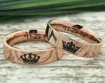 rose gold king and queen rings