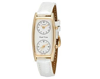 Gotham Womens Gold-Tone Dual Time Zone Watch