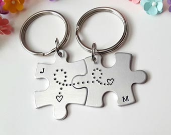 couples long distance keychains
