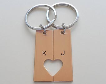his and hers bronze keychains