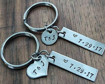 his and hers hand stamped keychains