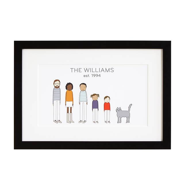 Personalized family print in black frame