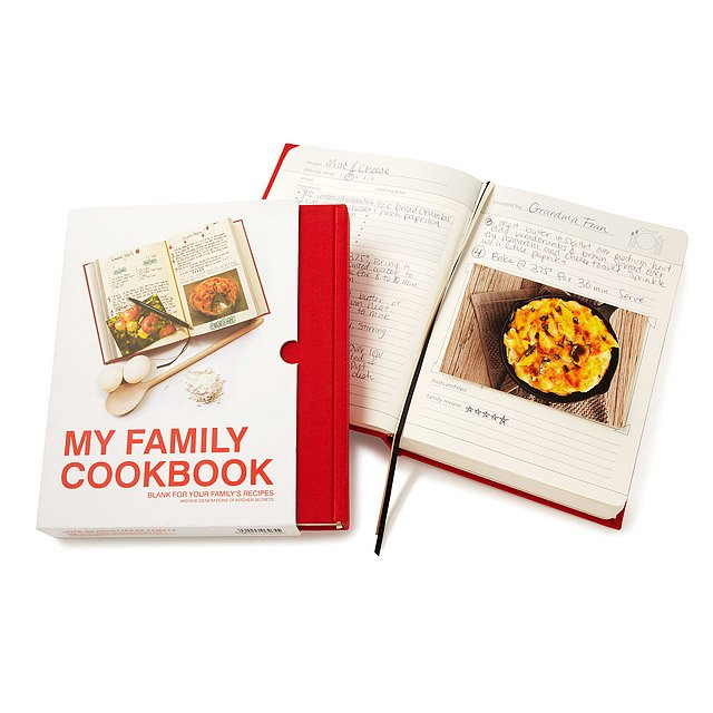 Custom family cookbook with red cover