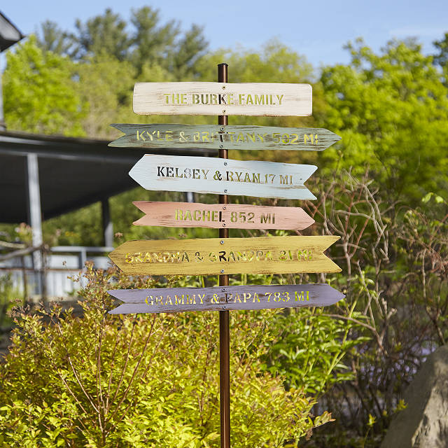 Personalized family member sign post