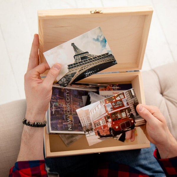 Personalized memory box containing photos