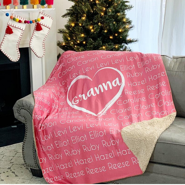 Personalized pink throw blanket for long distance grandparents