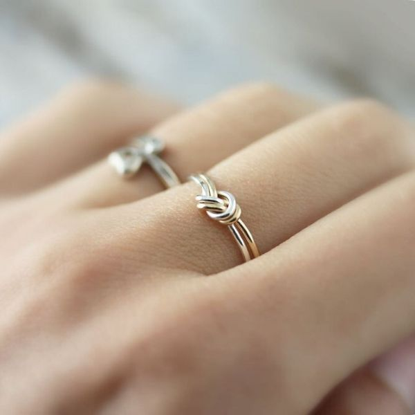 long distance friendship ring in gold and silver