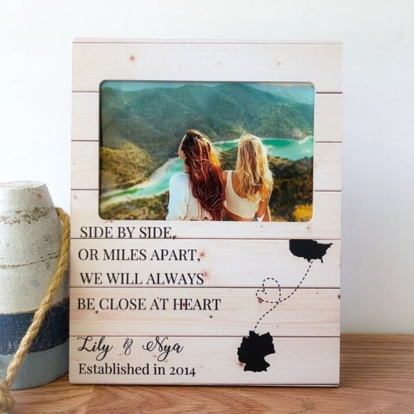 Customizable long distance friendship photo frame in wood
