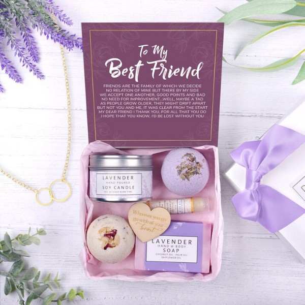 Best friend gift box containing lavender soap, bath bombs, soy candle and lip balm