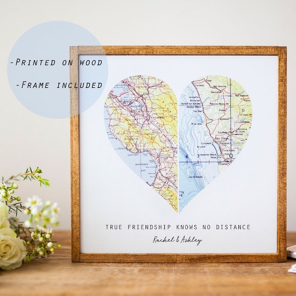 two maps in the shape of a heart for two friends in different locations