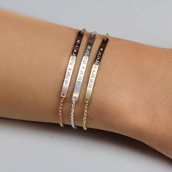 Coordinates Bar Bracelet by Jewelry Blues