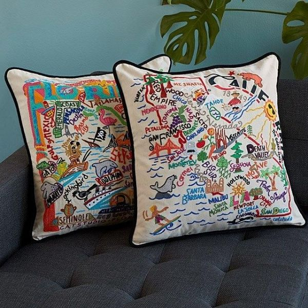 Hand Embroided State Pillows by Carmel & Terrell Swan