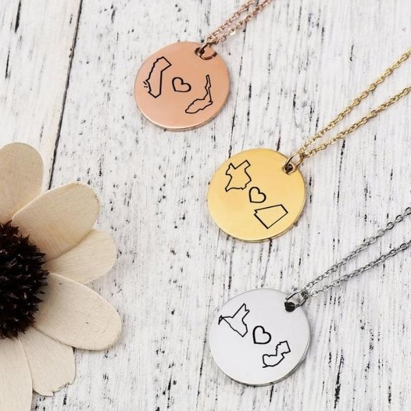 US State to State Pendant Necklaces by The Singing Koala