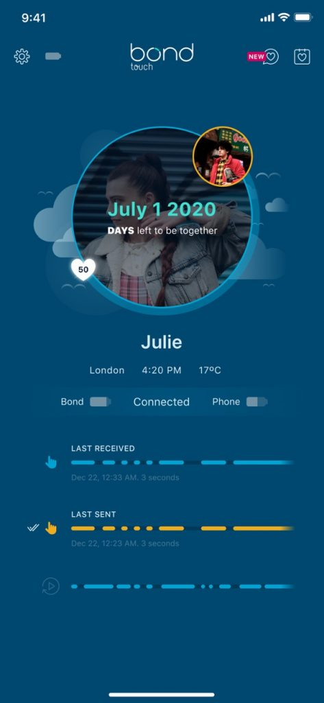 countdown timer feature next encounter in the bond touch app