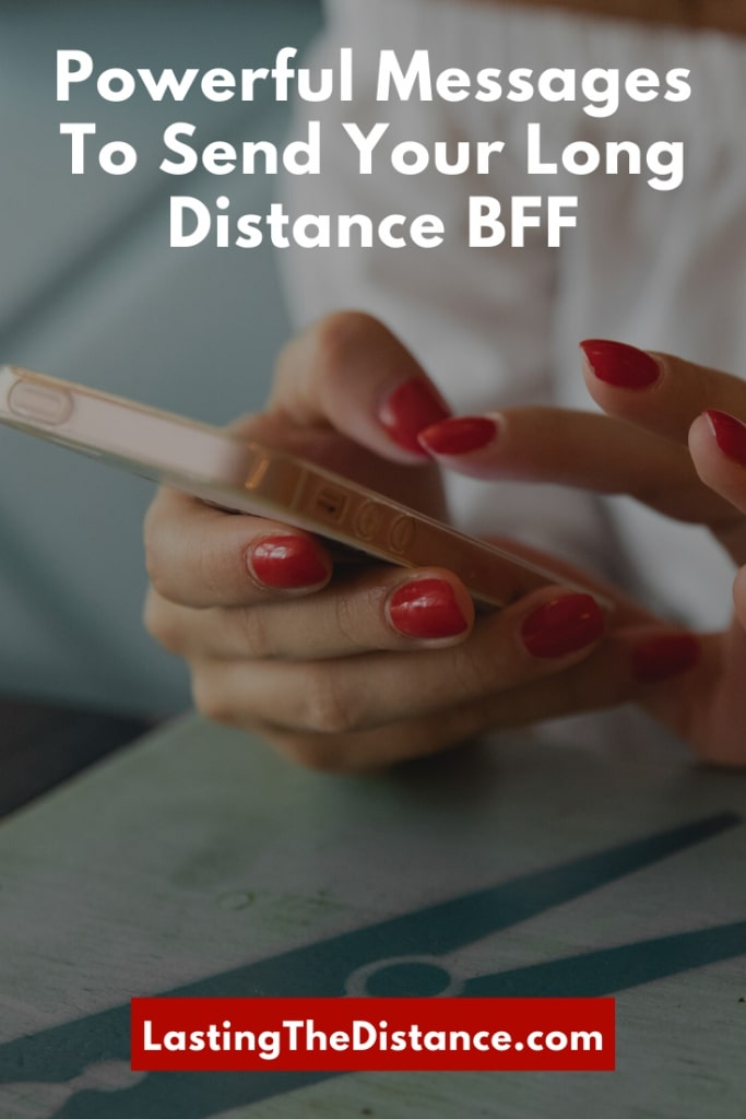 woman texting a long distance friendship message on her phone