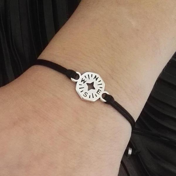 compass design long distance friendship bracelets