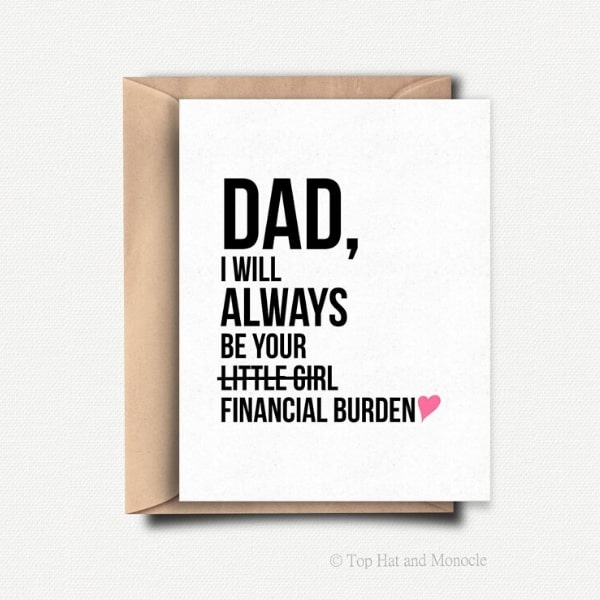 funny fathers day card on white paper
