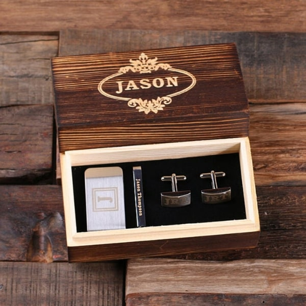 Fathers day gift set with cuff links, money clip and tie clip presented in a wooden box