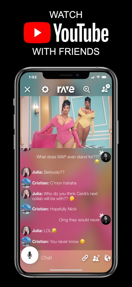 rave app watch youtube together online