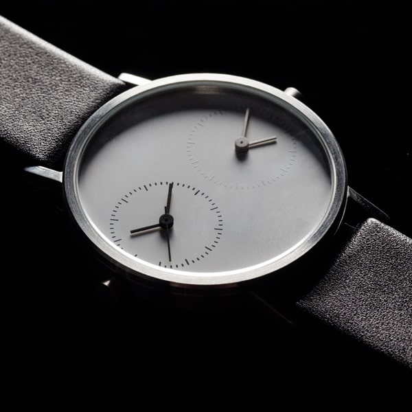 kitmen keung LDR watch in stainless steal with black leather band